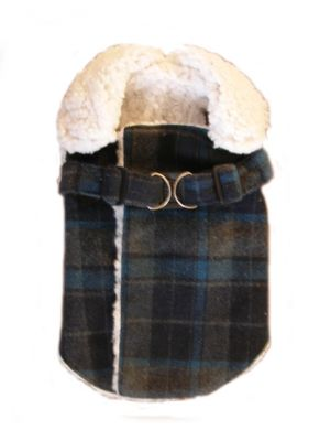 Doggie Design(ドギーデザイン)Navy Plaid Fleece Wrap Up Coat ネイビー チェック フリース コート