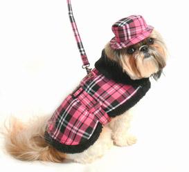 Doggie Design(ドギーデザイン)Pink Black Plaid Coat  ピンク ブラック フリース コート セット