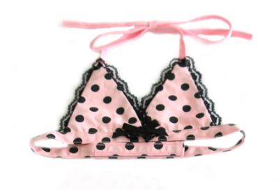 Doggie Design(ドギーデザイン)Pink W/ Black Polka Dot Bikini Top ピンク ブラック ポルカ ドット ビキニ トップ