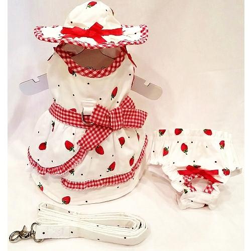 Platinum Puppy Couture(プラチナ パピー クチュール)Strawberries & Cream Harness Dress ストロベリー クリーム ハーネス ドレス