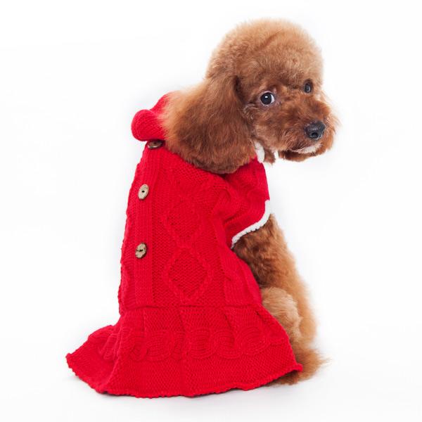 DOGO(ドゴ)Cable Hoodie Sweater Dress Red ケーブル パーカー セーター ドレス レッド