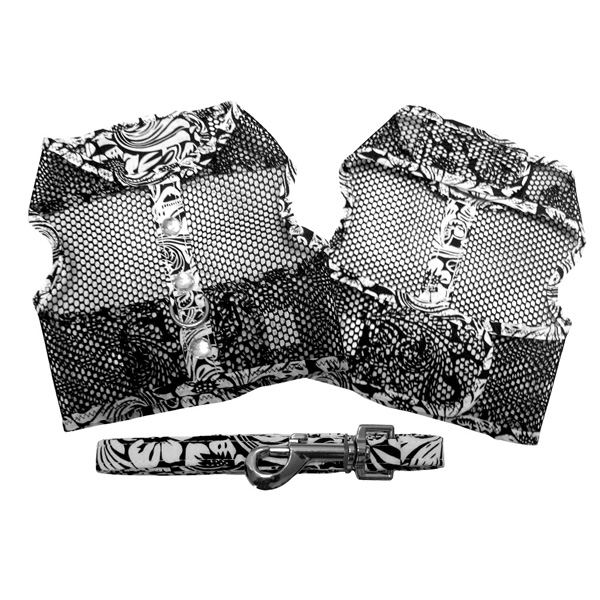Black and White Floral Cool Mesh Dog Harness ブラック ホワイト フローラル メッシュ ハーネス ベスト