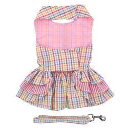 Doggie Design(ドギーデザイン)Pink Seersucker Ruffled Dog Dress ピンク シアサッカー フリル ドレス