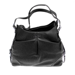 Sadie Mia Michele Black Faux Pebble Leather Carry Bag サディ ブラック フェイク ペブル レザー キャリーバッグ
