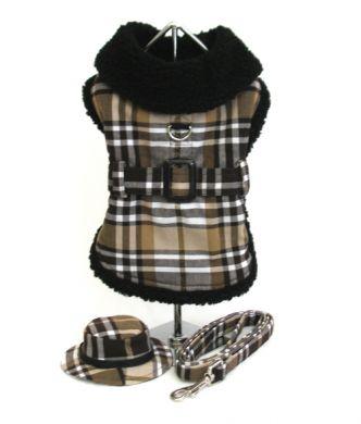 Doggie Design(ドギーデザイン)Brown Plaid Fleece Lined Coat ブラウン フリース コート セット