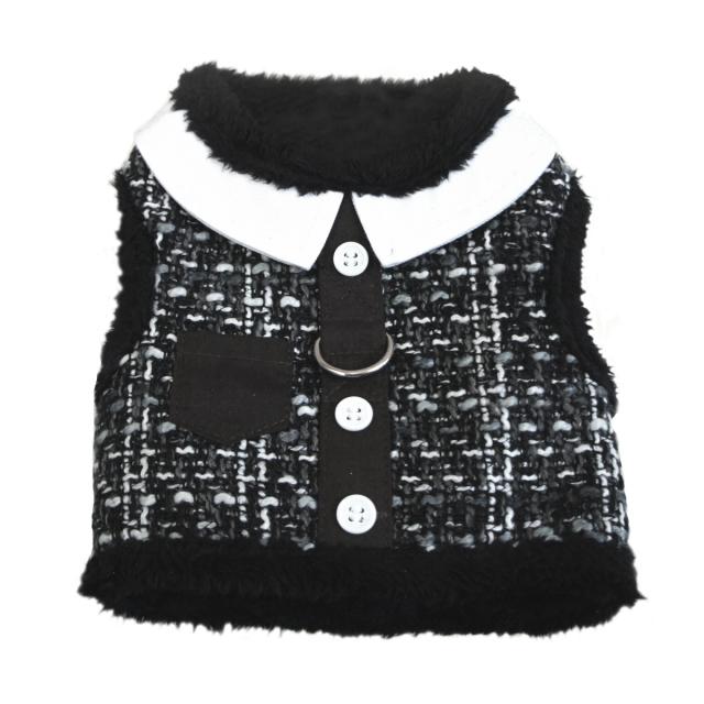 Doggie Design(ドギーデザイン)ドッグウェア Grey Tweed Minky Plush Harness グレー ツイード ミンキー ハーネス ベスト