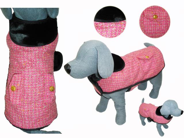 犬服 【NEW YORK DOG】(ニューヨークドッグ)Pink Boucle Coat ピンク 14インチ