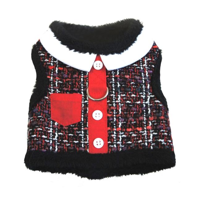 Doggie Design(ドギーデザイン)Red Tweed Minky Plush Harness レッド ツイード ミンキー ハーネス ベスト