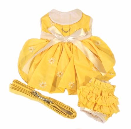 Doggie Design(ドギーデザイン)Yellow Denim and Daisy Dog Dress Set イエロー デニム デイジー ドレス セット