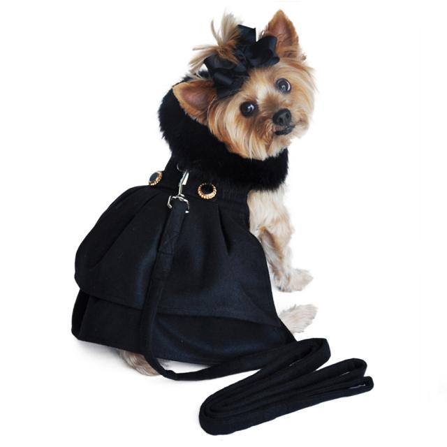 Doggie Design(ドギーデザイン)Black Wool and Black Fur Dog Harness Coat ブラック ウール ブラック ファー ハーネス コート