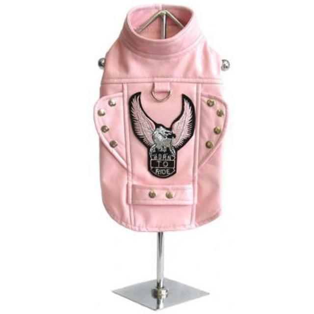 Doggie Design(ドギーデザイン)Pink Born To Ride Motorcycle Dog Harness Jacket ピンク ライド モーターサイクル ジャケット