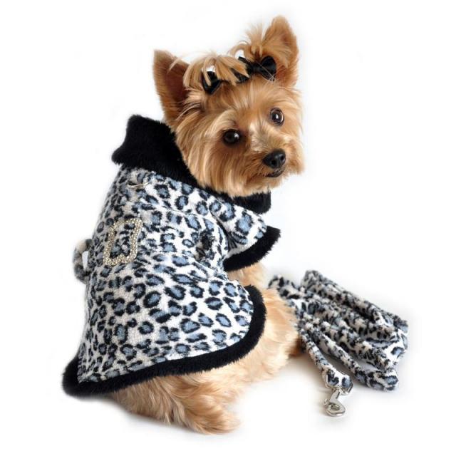 Doggie Design(ドギーデザイン)Leopard  Rhinestone Bone Buckle Coat クラシック レオパード ボーン バックル コート