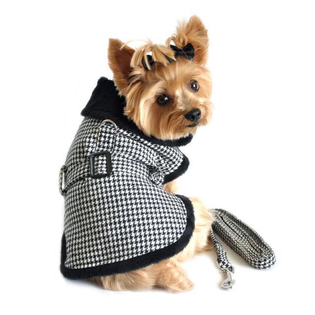 Doggie Design(ドギーデザイン)Classic Houndstooth Dog Harness Coat クラシック ハウンドトゥース コート