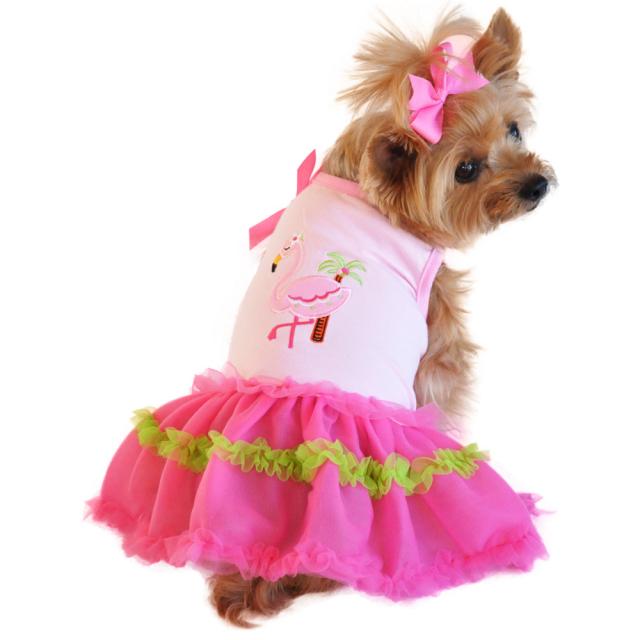Doggie Design(ドギーデザイン)Flamingo and Palm Tank Designer Dog Dress フラミンゴ パーム タンク デザイナー ドレス