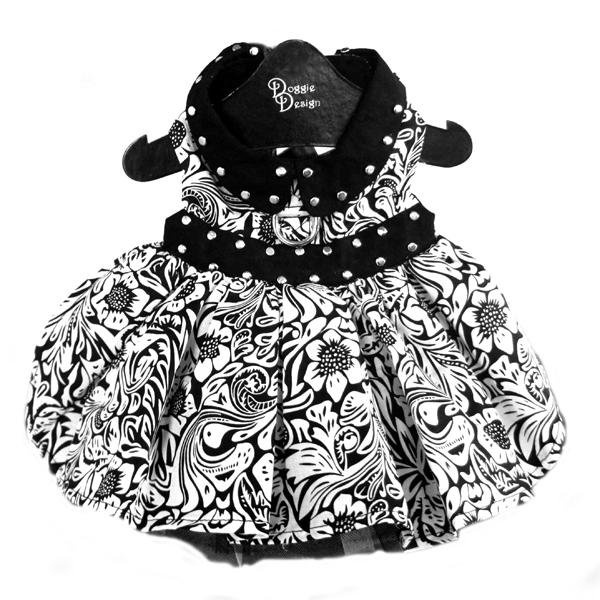 Doggie Design(ドギーデザイン)Black and White Floral Dog Dress ブラック ホワイト フローラル ドレス