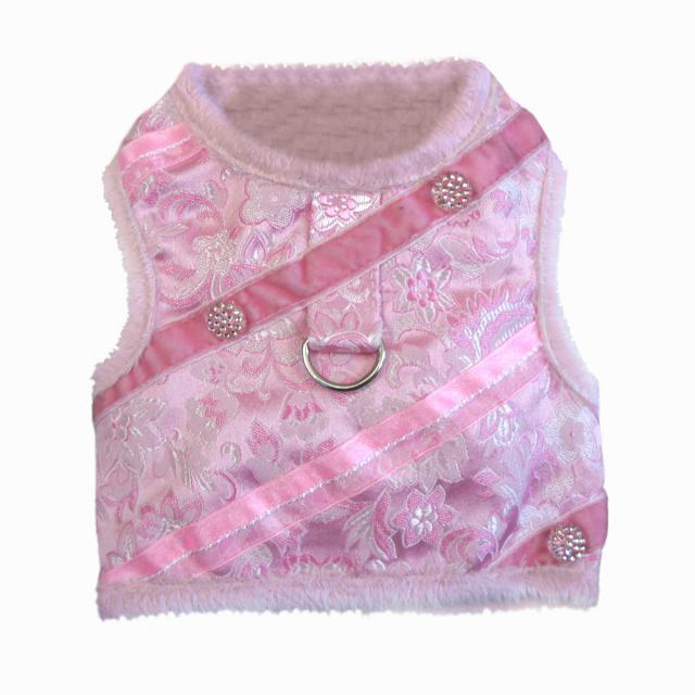 Doggie Design(ドギーデザイン)Pink Brocade Minky Plush Harness ピンク ブロケード ミンキー ハーネス ベスト