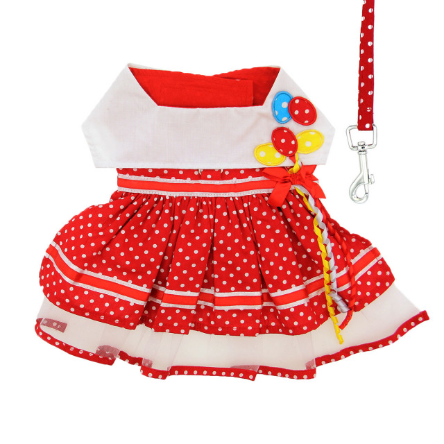 Doggie Design(ドギーデザイン)Red Polka Dot Balloon Designer Dog Dress レッド ポルカドット バルーン デザイナー ドレス