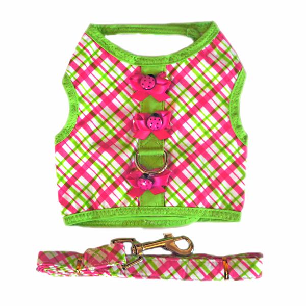 Doggie Design(ドギーデザイン)Pink and Green Plaid Dog Harness ピンク グリーン プレイド ハーネス