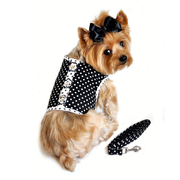 Doggie Design(ドギーデザイン)Black and White Polka Dot Dog Harness ブラック ホワイト ポルカドット ハーネス ベスト